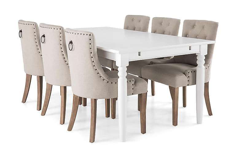 Matgrupp Hampton 190 cm med 6 Ophelia Fåtölj - Vit|Beige|Trä - Möbler - Matgrupper - Rektangulär matgrupp