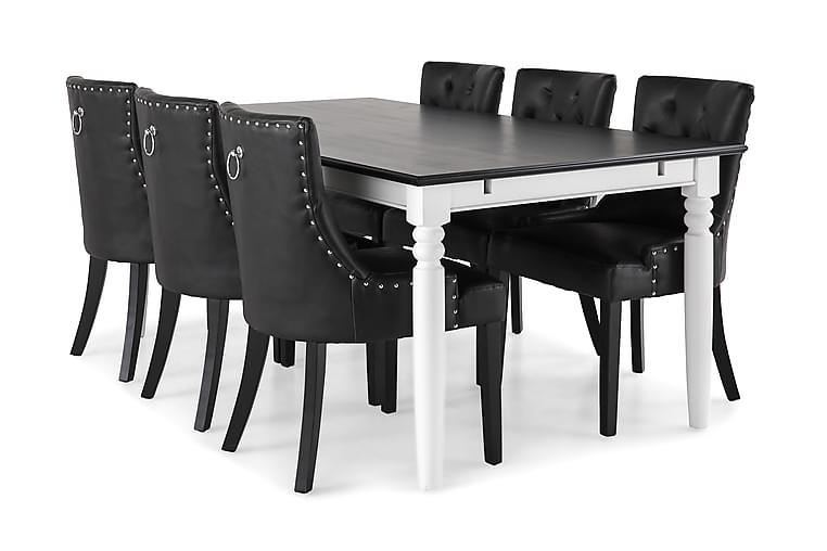Matgrupp Hampton 190 cm med 6 Tuva Fåtölj - Mahogny|Vit|Svart PU - Möbler - Matgrupper - Rektangulär matgrupp