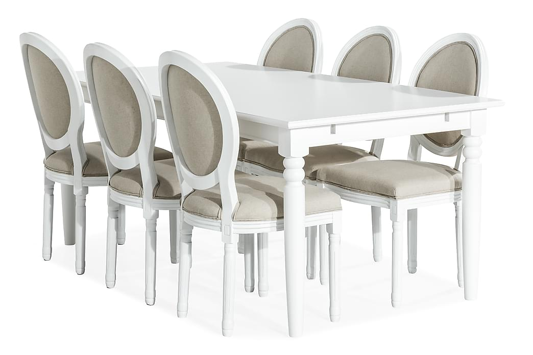 Matgrupp Hampton 190 cm med 6 Wisle Stol - Vit|Beige - Möbler - Matgrupper - Rektangulär matgrupp
