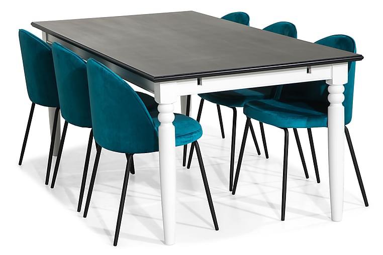 Matgrupp Hampton 190 med 6 Stol Gerardo Sammet - Svart Blå Svarta Ben - Möbler - Matgrupper - Rektangulär matgrupp