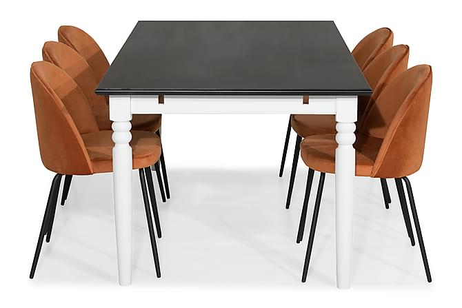 Matgrupp Hampton 190 med 6 Stol Gerardo Sammet - Svart/Orange/Svarta Ben - Möbler - Matgrupper - Rektangulär matgrupp