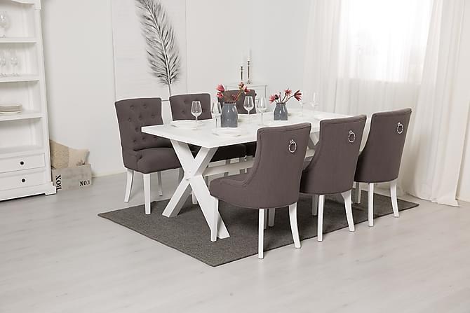 Matgrupp Hannah 180 cm Vitlack med 6st Ophelia Fåtöljer - Grå|Vit - Möbler - Matgrupper - Rektangulär matgrupp