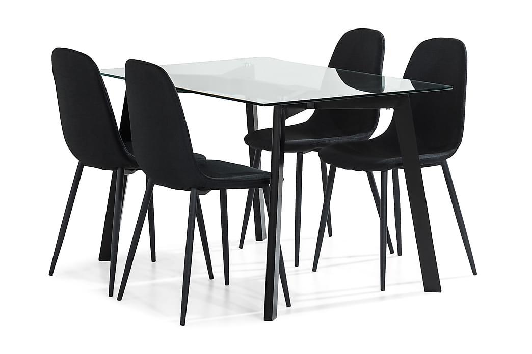 Matgrupp Jaunita 120 cm med 4 Naira Stol - Glas|Svart - Möbler - Matgrupper - Rektangulär matgrupp