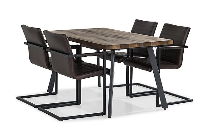 Matgrupp Jaunita Förlängningsbar 140 cm med 4 Dutch Stol - Brun|Mörkbrun - Möbler - Matgrupper - Rektangulär matgrupp