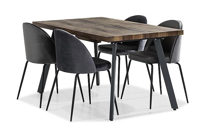 Matgrupp Jaunita Förlängningsbar 140 cm med 4 Gerardo Stol - Brun|Grå|Svart - Möbler - Matgrupper - Rektangulär matgrupp