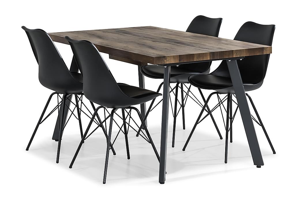 Matgrupp Jaunita Förlängningsbar 140 cm med 4 Scale Stol - Brun|Svart - Möbler - Matgrupper - Rektangulär matgrupp