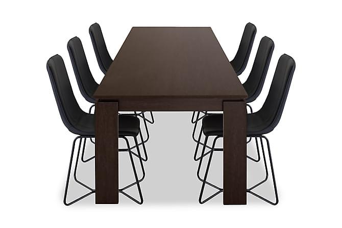 Matgrupp Kierra med 6 Theresa Stol - Svart|Ek - Möbler - Matgrupper - Rektangulär matgrupp