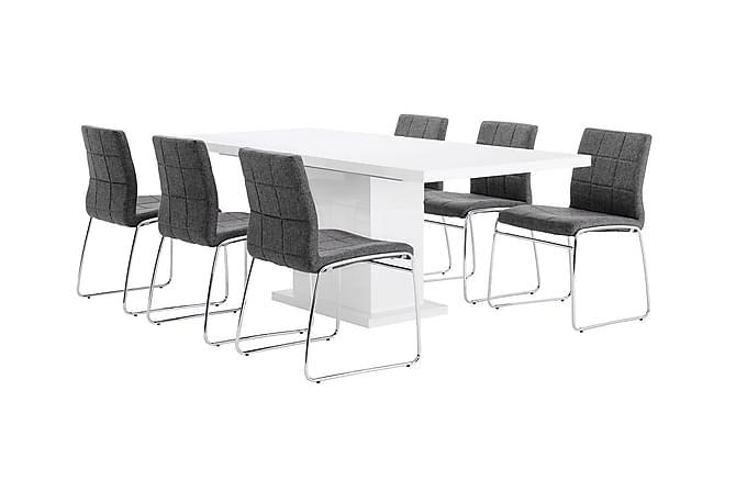 Matgrupp Kulmbach med 6 Mucura Stol - Vit|Grå - Möbler - Matgrupper