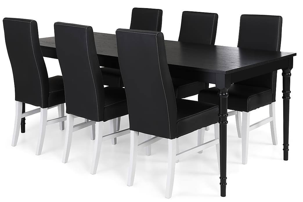 Matgrupp Milton 200 cm med 6 Stol Max - Svart - Möbler - Matgrupper - Rektangulär matgrupp