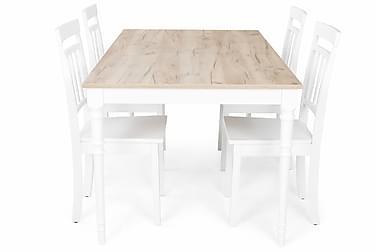 Matgrupp Milton Förlängningsbar 160 cm med 4 Hudson Stol