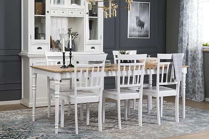 Matgrupp Milton Förlängningsbar 200 cm med 6 Hudson Stol - Trä Vit - Möbler  - 5b184f9c6629b