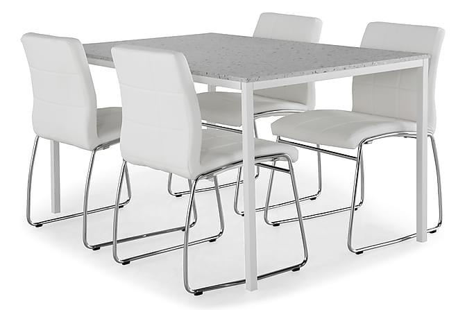 Matgrupp Minto 138 cm med 4 Mucura Stol - Ljusgrå Terrazzo Vit Krom - 594210f2e0d90