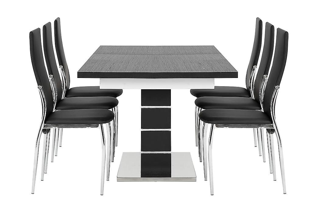 Matgrupp Mueller Förlängningsbar med 6 Henkel Stol - Svart|Vit - Möbler - Matgrupper - Rektangulär matgrupp