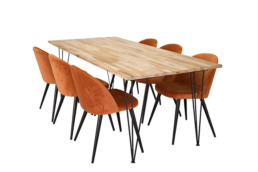 Matgrupp Neila med 6 Luisa Stol - Trä Svart Orange - Möbler - Matgrupper - Rektangulär matgrupp