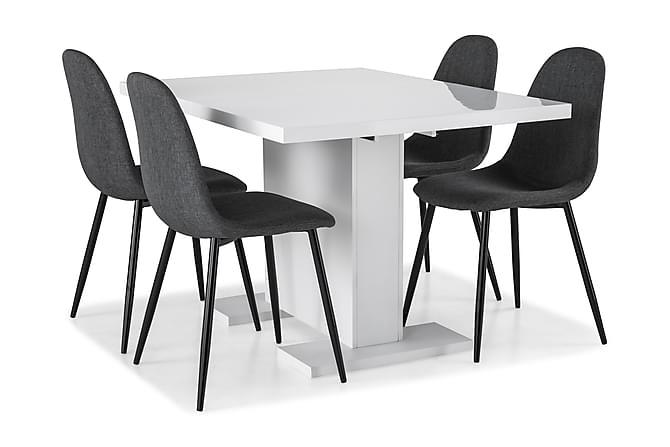 Matgrupp Nico 120 cm med 4 Naira Stol - Vit|Grå|Svart - Möbler - Matgrupper - Rektangulär matgrupp