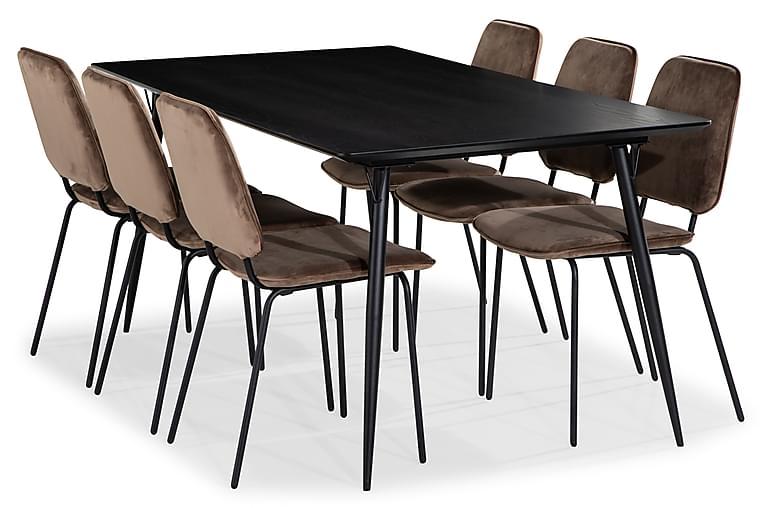 Matgrupp Steph 180 cm med 6 Eleri Matstol Sammet - Svart - Möbler - Matgrupper - Rektangulär matgrupp