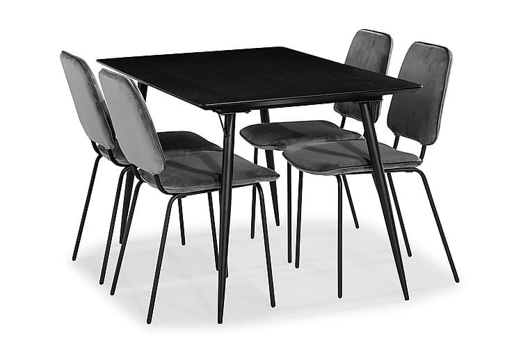 Matgrupp Steph med 4 Eleri Matstol Sammet - Svart - Möbler - Matgrupper - Rektangulär matgrupp