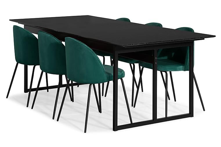 Matgrupp Titania Marmor med 6 Gerardo Stol Sammet - Svart|Grön - Möbler - Matgrupper - Rektangulär matgrupp