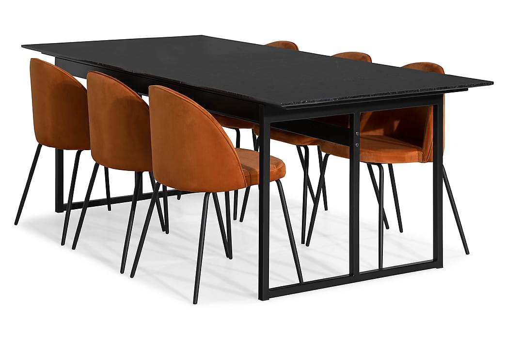 Matgrupp Titania Marmor med 6 Gerardo Stol Sammet - Svart Orange - Möbler - Matgrupper - Rektangulär matgrupp