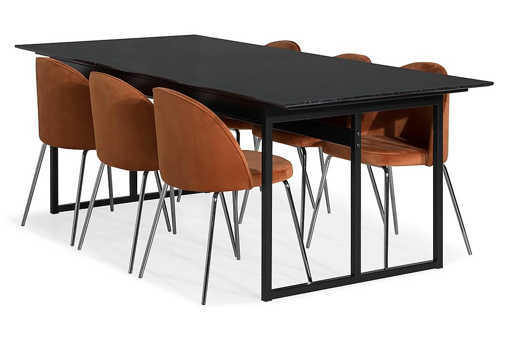 Matgrupp Titania Marmor med 6 Gerardo Stol Sammet - Svart|Orange|Krom - Möbler - Matgrupper - Rektangulär matgrupp