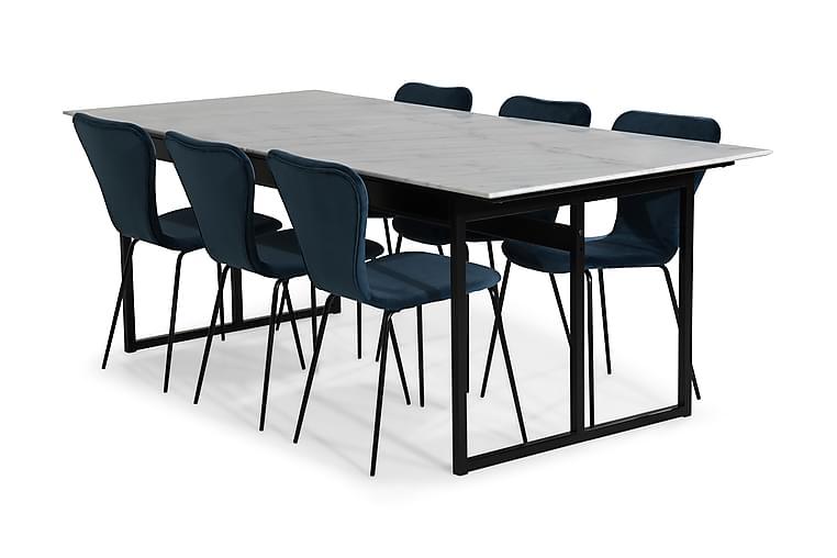 Matgrupp Titania Marmor med 6 Miko Stol Sammet - Vit|Blå|Svart - Möbler - Matgrupper - Rektangulär matgrupp