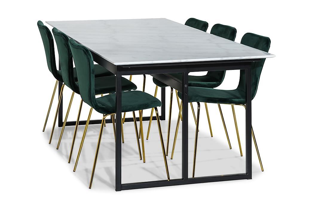 Matgrupp Titania Marmor med 6 Naira Stol - Vit Grön Mässing - Möbler - Matgrupper - Rektangulär matgrupp
