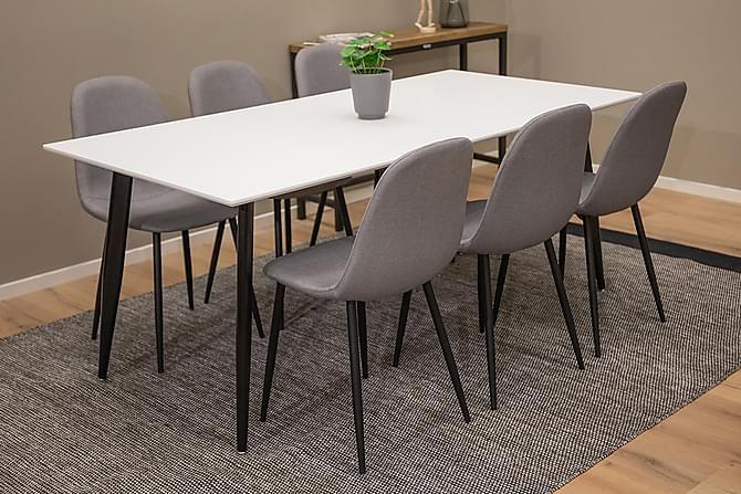 Matgrupp Tommy 180 cm med 6 Stolar - Vit|Svart|Grå - Möbler - Matgrupper - Rektangulär matgrupp