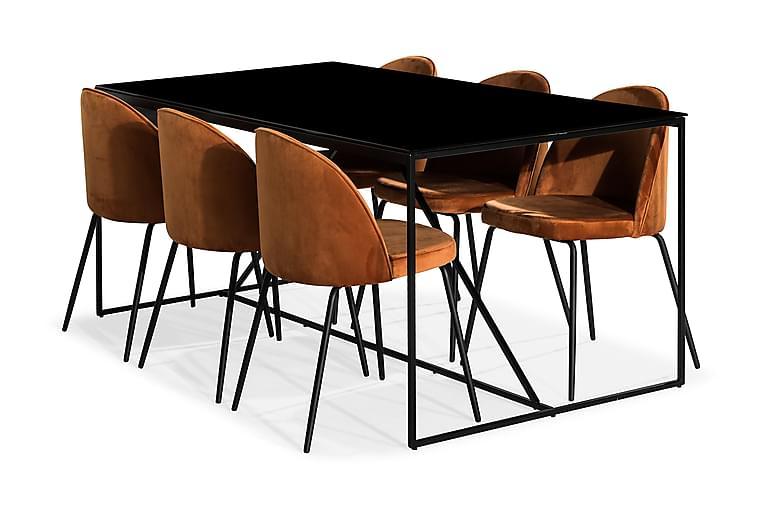 Matgrupp Treni med 6 Gerardo Stol Sammet - Glas|Metall|Orange|Svart - Möbler - Matgrupper - Rektangulär matgrupp