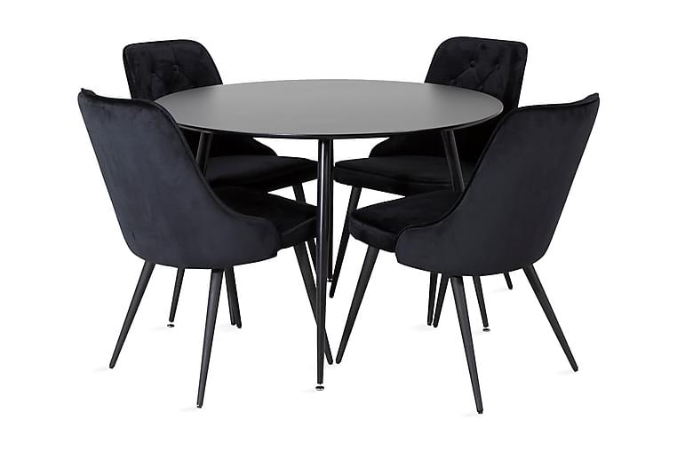 Matbord Azuer Runt med 4 st Valera Lyx Sammetstol - Möbler - Matgrupper - Rund matgrupp