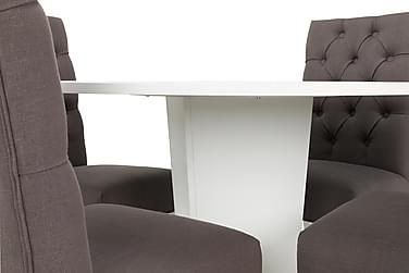 Matgrupp Blocco 120 cm m 4st Emmie stolar Ljusgrå