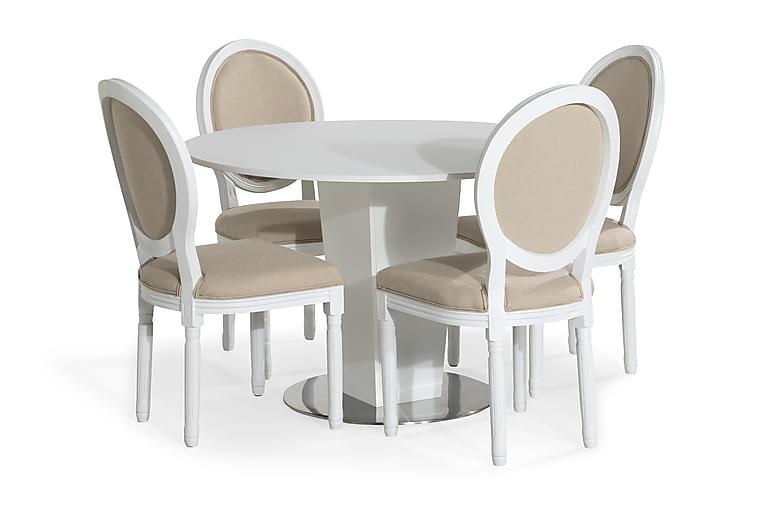 Matgrupp Blocco 120 cm med 4 Wisle Stol - Vit|Beige - Möbler - Matgrupper - Rund matgrupp
