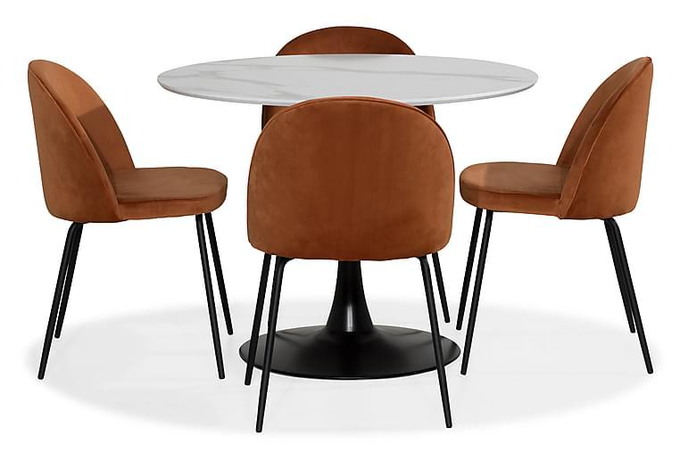 Matgrupp Severo 100 cm Rund med 4 Gerardo Stol Sammet - Vit Orange Svart - Möbler - Matgrupper - Rund matgrupp