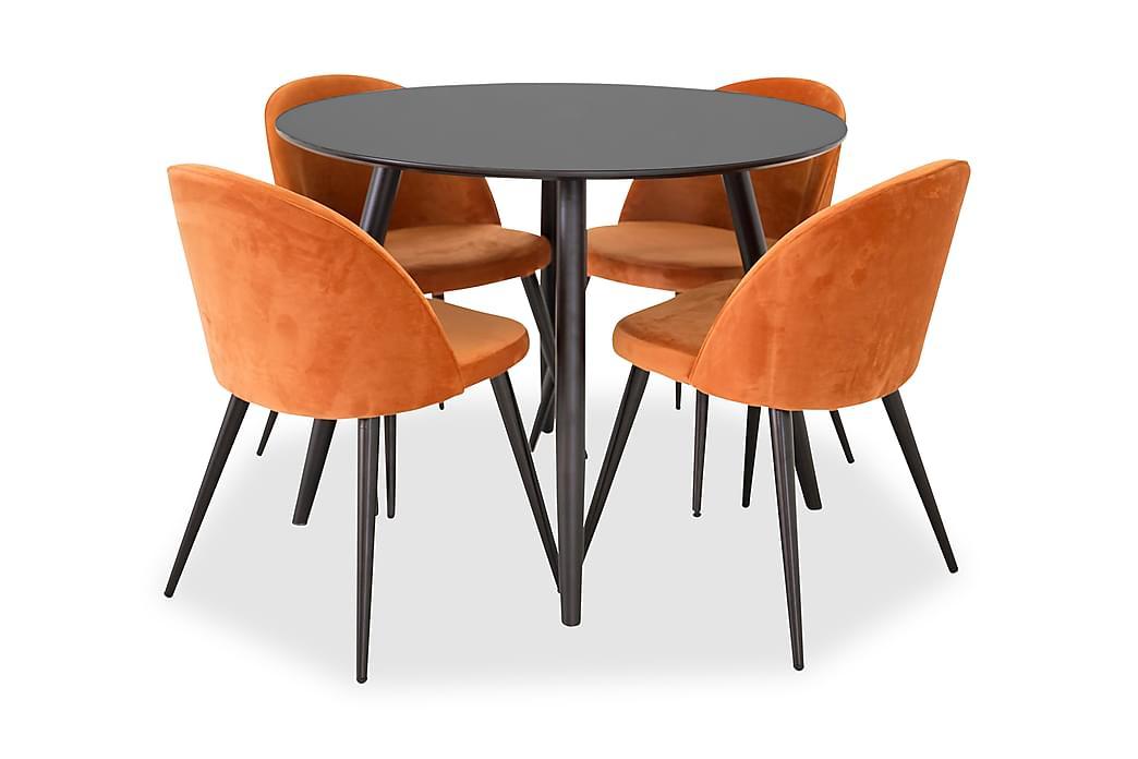 Matgrupp Trym 100 cm Rund med 4 Luisa Stol - Svart|Orange - Möbler - Matgrupper - Rund matgrupp