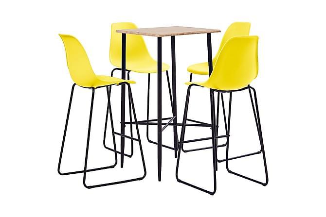 Bargrupp 5 delar plast gul - Gul - Möbler - Matgrupper