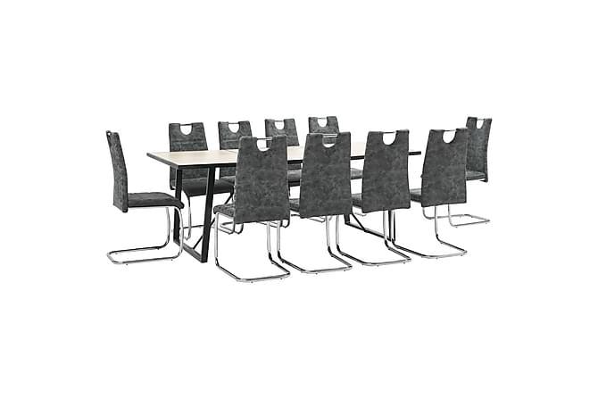 Matgrupp 11 delar svart konstläder - Svart - Möbler - Matgrupper