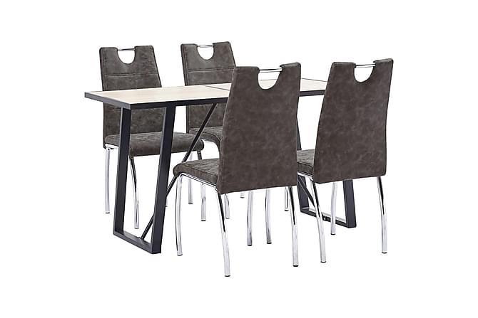 Matgrupp 5 delar brun konstläder - Brun - Möbler - Matgrupper