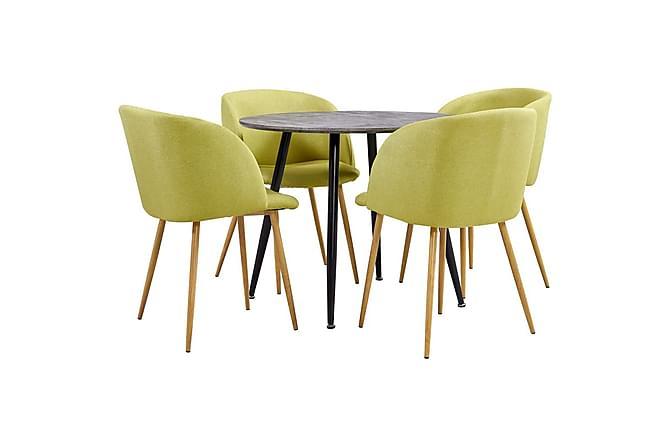 Matgrupp 5 delar tyg grön - Grön - Möbler - Matgrupper