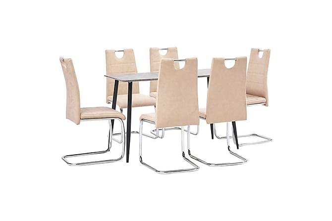 Matgrupp 7 delar gräddvit konstläder - Beige - Möbler - Matgrupper