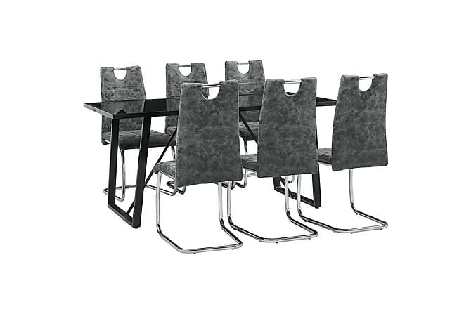 Matgrupp 7 delar svart konstläder - Svart - Möbler - Matgrupper