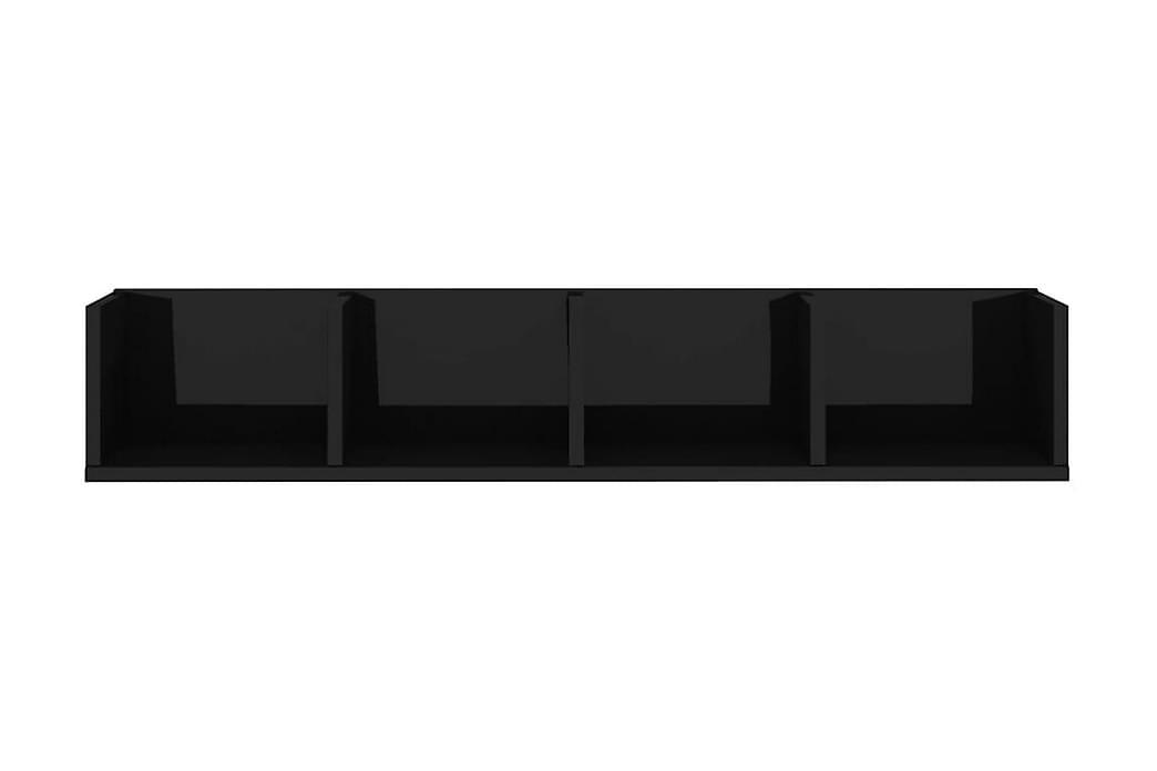 CD-hylla svart högglans 100x18x18 cm spånskiva - Svart - Möbler - TV- & Mediamöbler - CD-hylla & DVD-hylla
