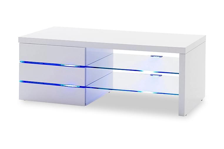 TV-bänk Draco 110 cm Glas - Vit Högglans - Möbler - TV- & Mediamöbler - TV-bänk & mediabänk