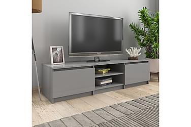 TV-bänk grå högglans 140x40x35,5 cm spånskiva