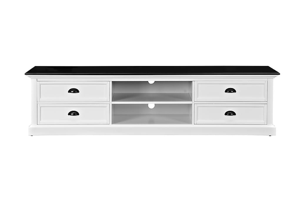TV-bänk Hampton 180 cm Hylla 4 Lådor - Vit Svart - Möbler - TV- & Mediamöbler - TV-bänk & mediabänk