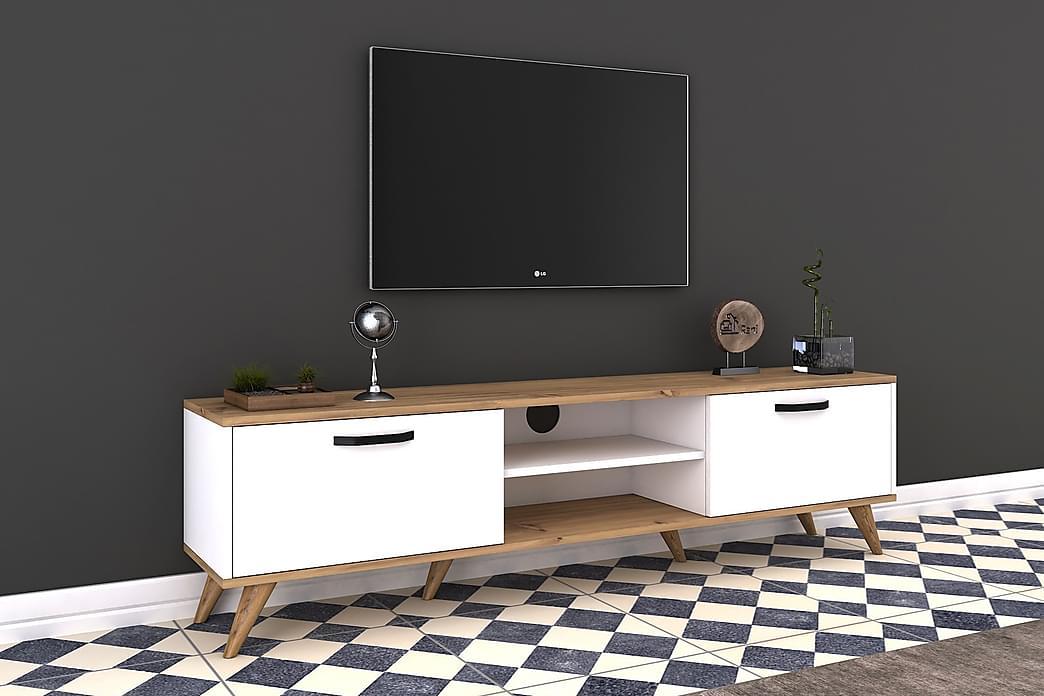 TV-Bänk Horveryd 180 cm - Vit|Brun - Möbler - TV- & Mediamöbler - TV-bänk & mediabänk