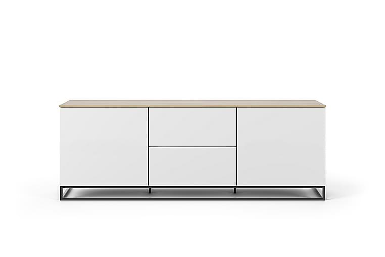 Tv-bänk Join 2 Lådor - Vit Ek Metallben - Möbler - TV- & Mediamöbler - TV-bänk & mediabänk