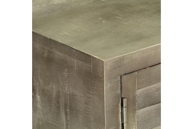 TV-bänk massivt mangoträ grå med mässing 110x30x48 cm - Grå - Möbler - TV- & Mediamöbler - TV-bänk & mediabänk