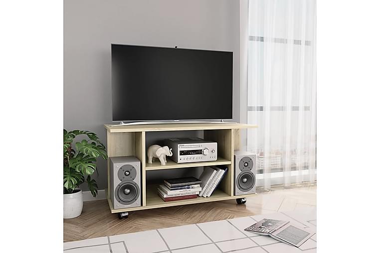 TV-bänk med hjul sonoma ek 80x40x40 cm spånskiva - Brun - Möbler - TV- & Mediamöbler - TV-bänk & mediabänk