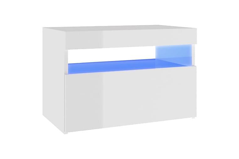 TV-bänk med LED-belysning vit högglans 60x35x40 cm - Vit - Möbler - TV- & Mediamöbler - TV-bänk & mediabänk