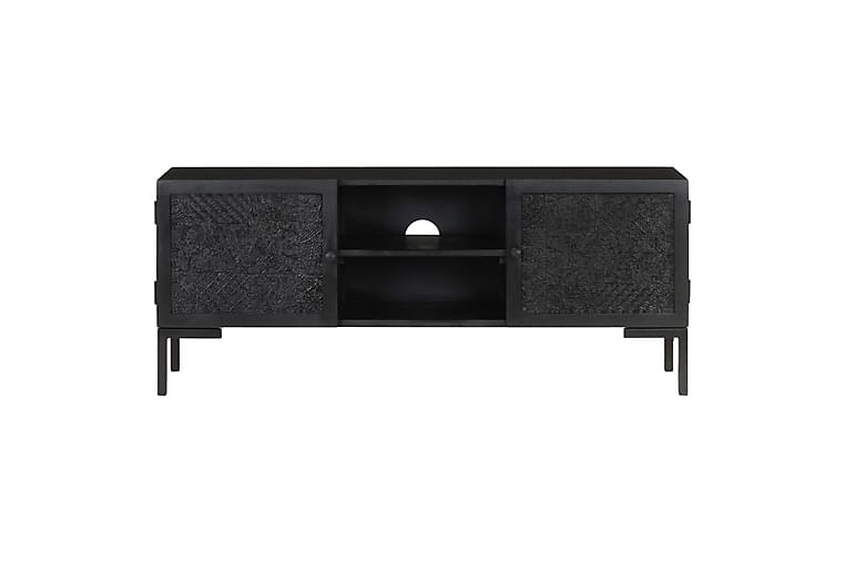 TV-bänk svart 115x30x46 cm massivt grovt mangoträ - Svart - Möbler - TV- & Mediamöbler - TV-bänk & mediabänk