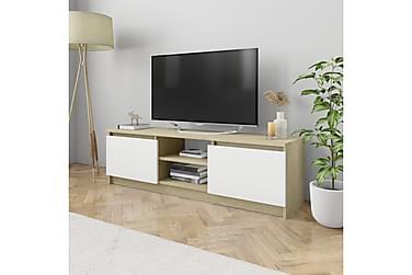TV-bänk vit och sonoma ek 120x30x35,5 cm spånskiva